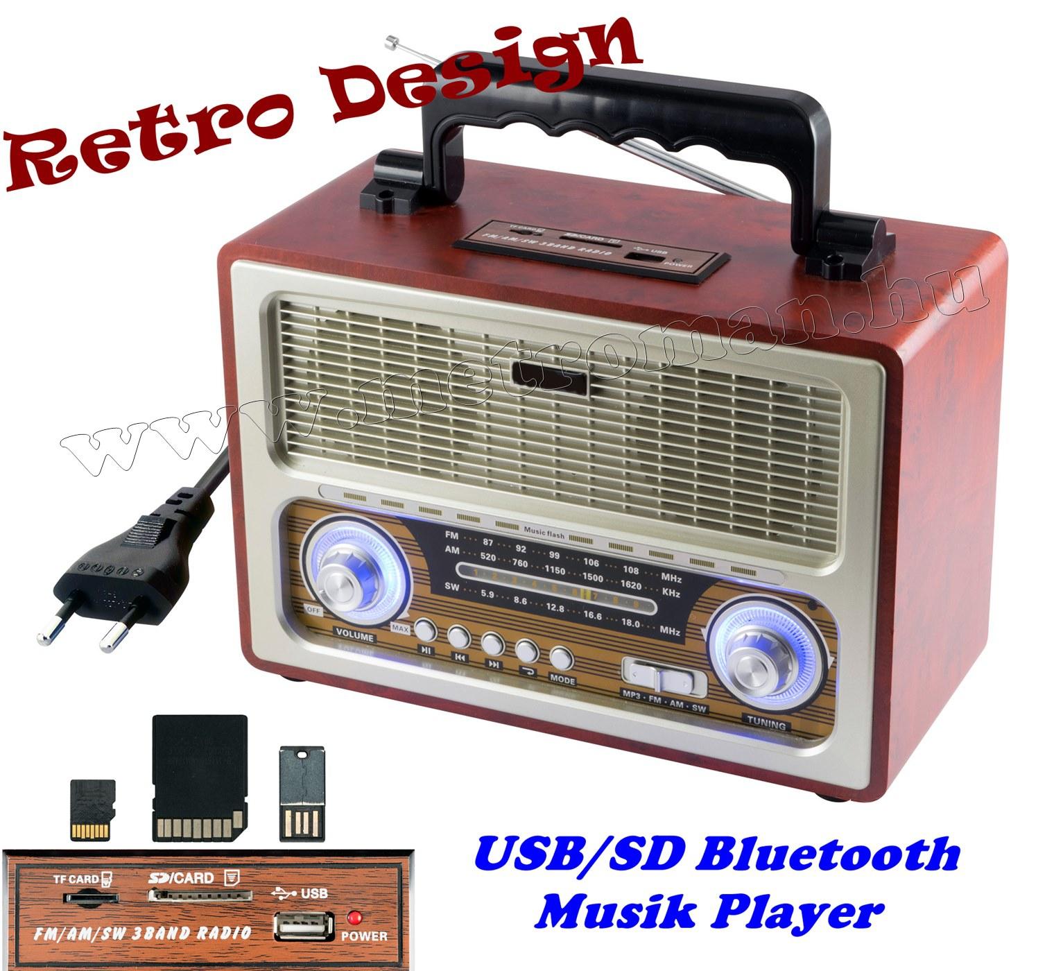 Hordozható Retro rádió és USB/SD MP3 Bluetooth Multimédia Zenelejátszó RRT 3B