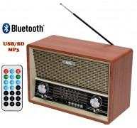 Asztali retro rádió és USB/SD MP3 Bluetooth Multimédia Zenelejátszó RRT 4B