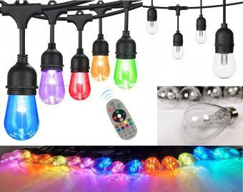 Retro Vintage gömb körte izzós kültéri kerti színes RGB és Hideg/Meleg fehér LED fényfüzér MM5736RGBLED