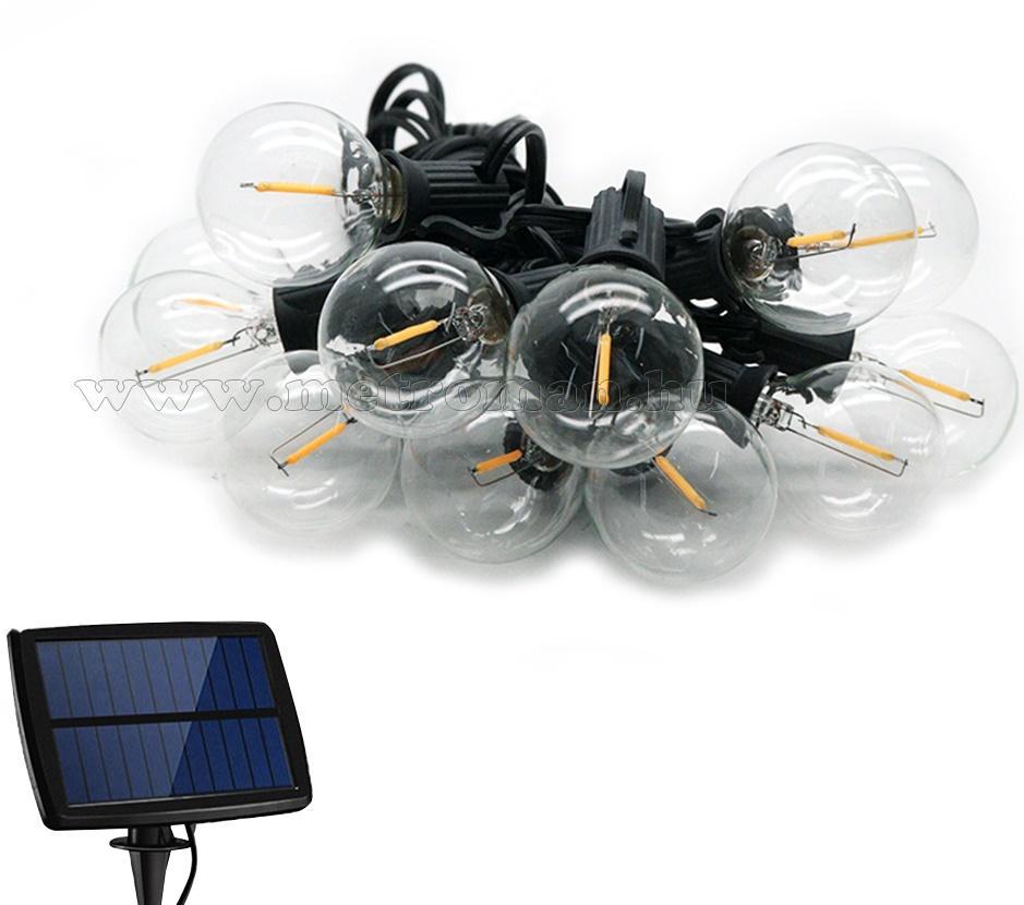 Retró gömb izzó formájú napelemes kültéri kerti LED fényfüzér MGR04LED-Solar Meleg Fehér