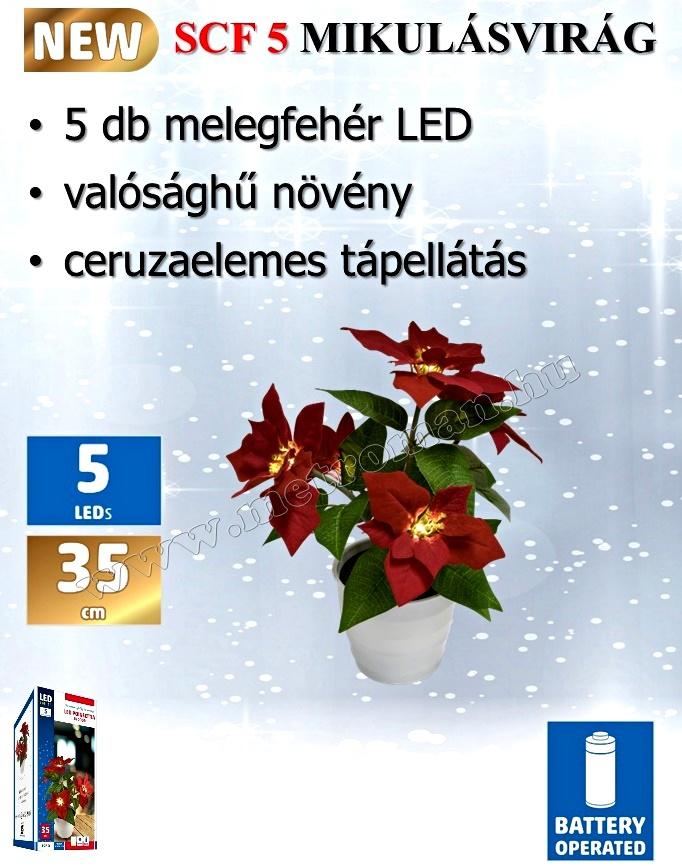 LED-es mikulásvirág dekoráció SCF 5