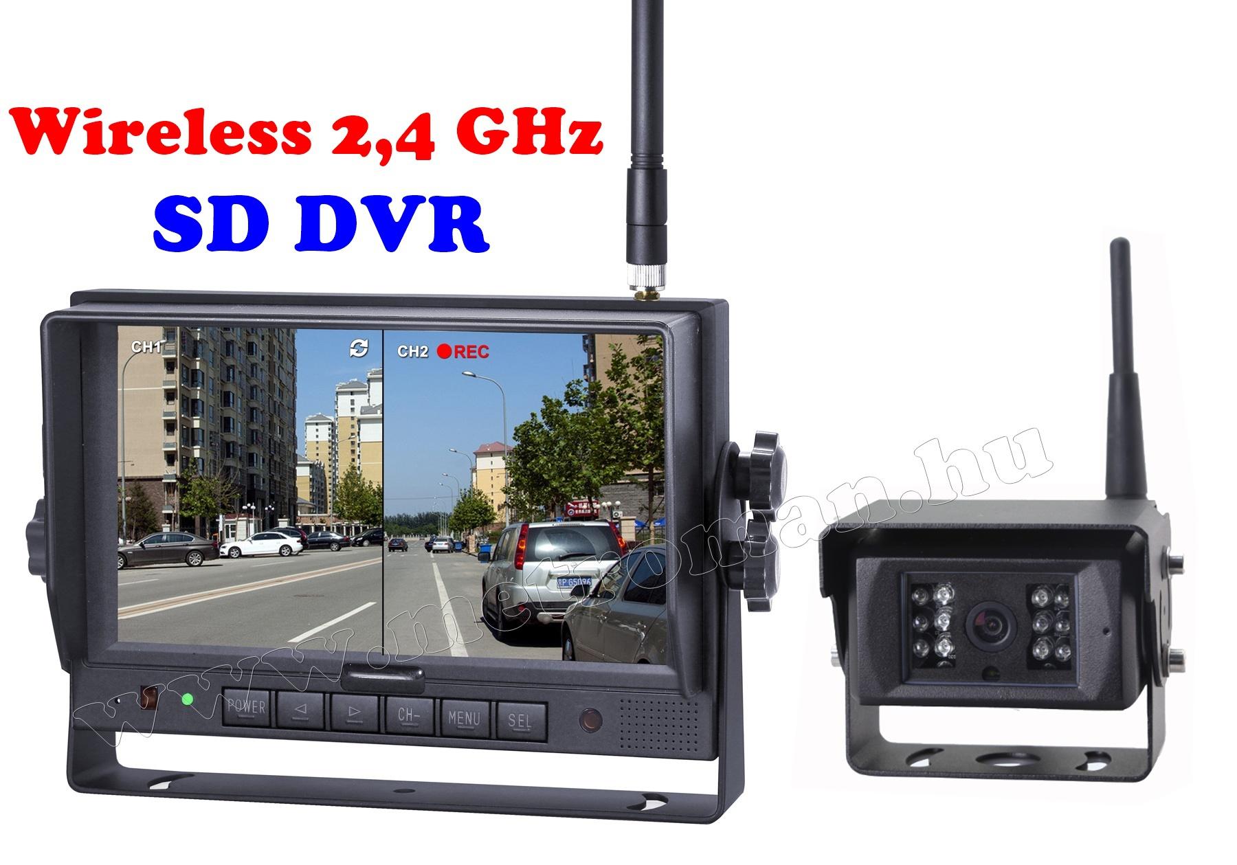 Ipari kivitelű Vezeték nélküli tolatókamera szett, SD kártyás DVR LCD monitorral, Sharp Vision