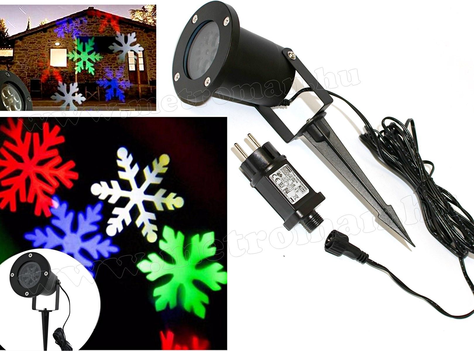 Kültéri színes LED fény projektor, kerti hangulat világítás MA1008 Hópehely