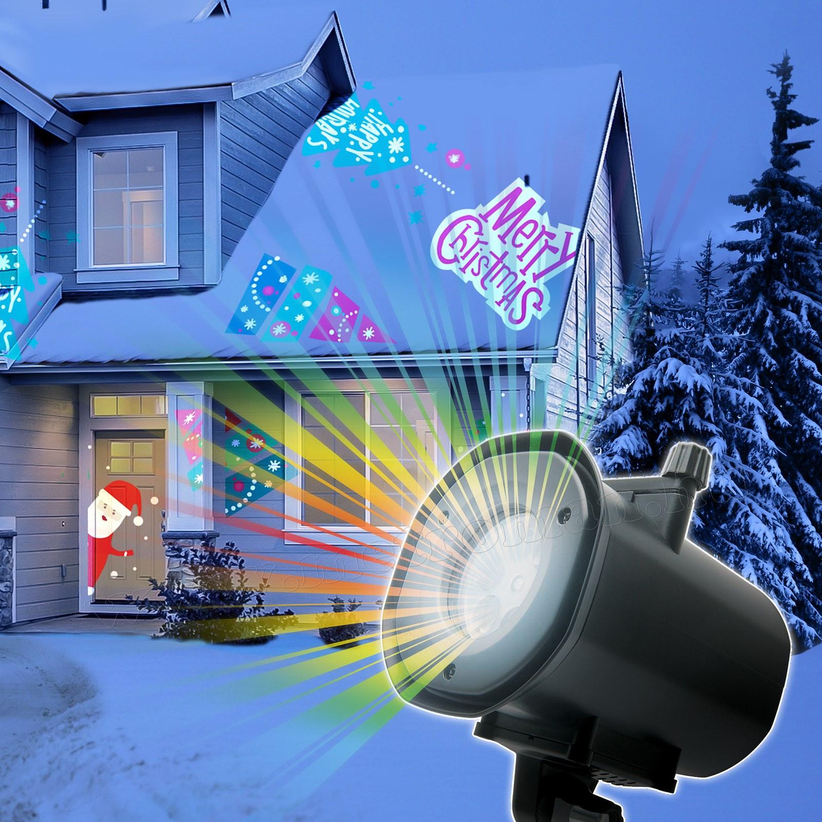 Kültéri színes LED fény projektor, kerti hangulat világítás 4 az 1-ben MDL-916