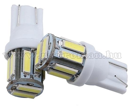 Autós LED izzó 10 db SMD LED-del fehér, T1010SMD7014F