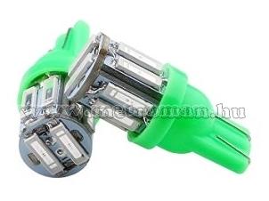 Autós LED izzó 10 db SMD LED-del, zöld, T1010SMD7014Z