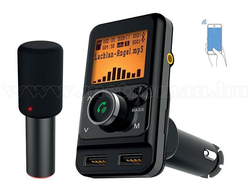 FM transzmitter és Bluetooth kihangosító karaoke mikrofonnal TR225