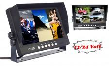 Ipari kivitelű autó, kamion, busz LCD monitor tolatókamerához M9607 QUAD 12/24V
