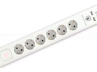 Túlfeszültségvédett hálózati elosztó USB töltőaljzatokkal NVT 06K USB/WH