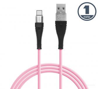 USB / USB-C telefontöltő és adatkábel 1 m rózsaszín 55436P