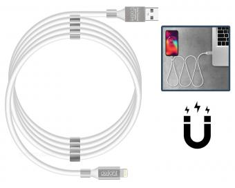 USB - Lightning mágneses adat és telefontöltő kábel fehér 55446I-WH