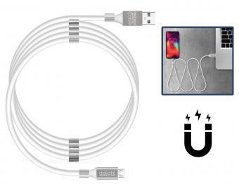 USB - microUSB mágneses adat és telefontöltő kábel fehér 55446M-WH
