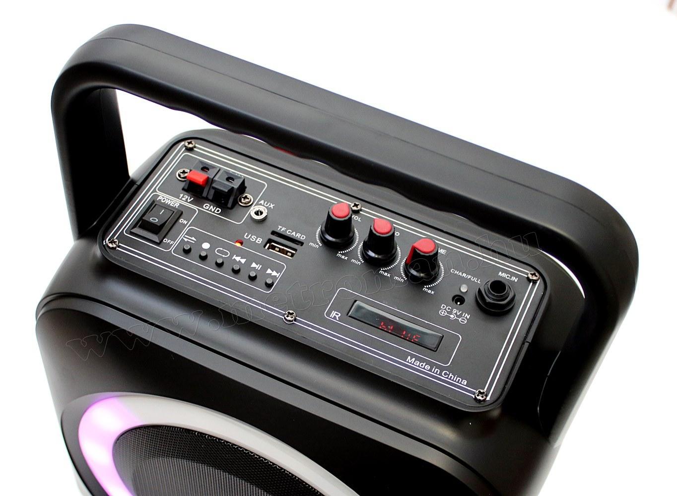 Hordozható Karaoke szett USB/MP3 Bluetooth zenelejátszó, vezeték nélküli mikrofonnal, BT800