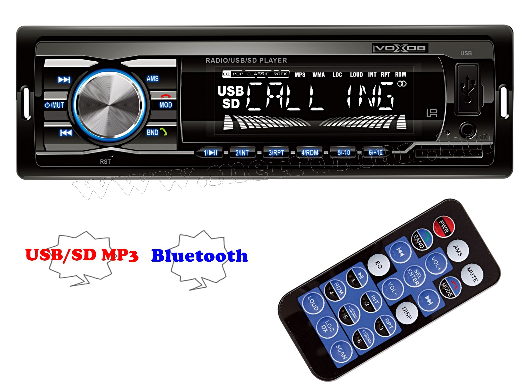 USB / SD MP3 Bluetooth autórádió VoxBox VB 3100 BT