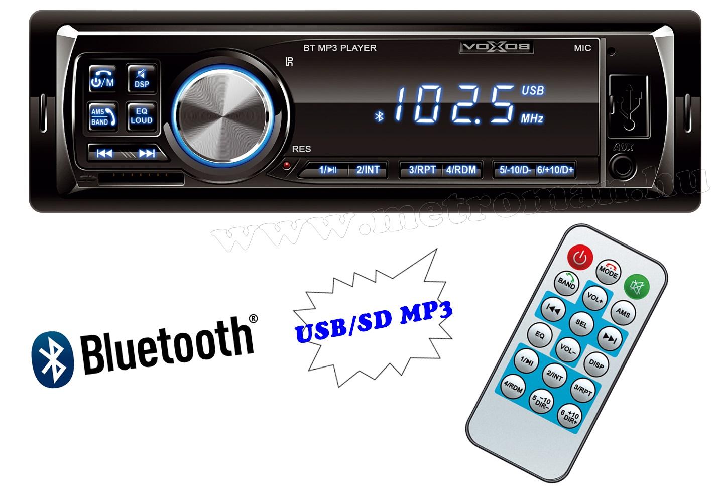 USB / SD MP3 Bluetooth autórádió VoxBox 1000/BL-BT