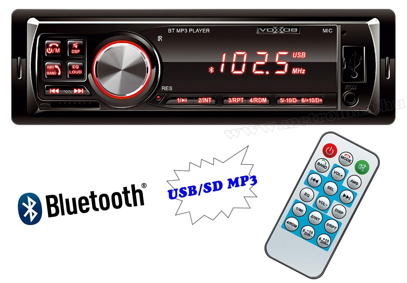 USB / SD MP3 Bluetooth autórádió VoxBox VBT 1000/RD-BT