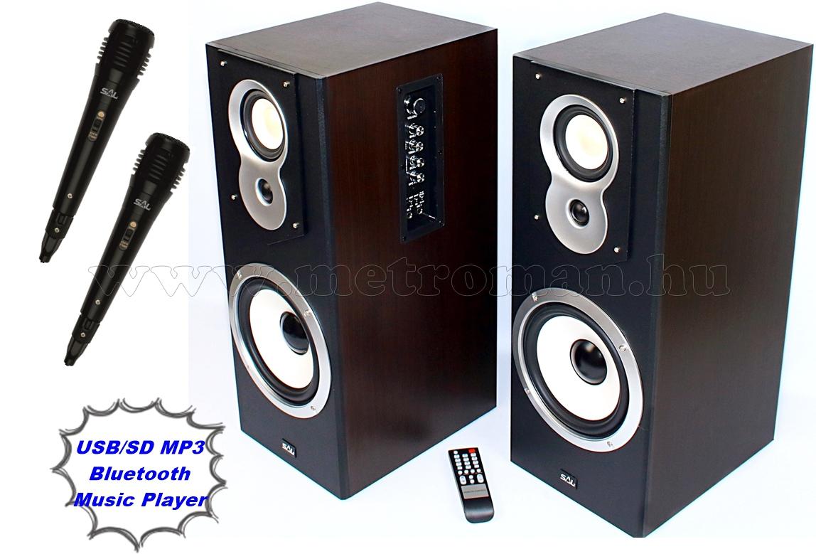 Aktív hangfal karaoke szett USB/SD MP3 Bluetooth, 2db mikrofonnal SAL20BT-M61