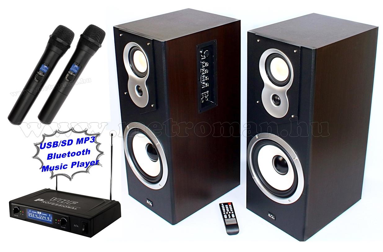 Aktív hangfal karaoke szett USB/SD MP3 Bluetooth, vezeték nélküli mikrofonnal SAL20BT-MVN500