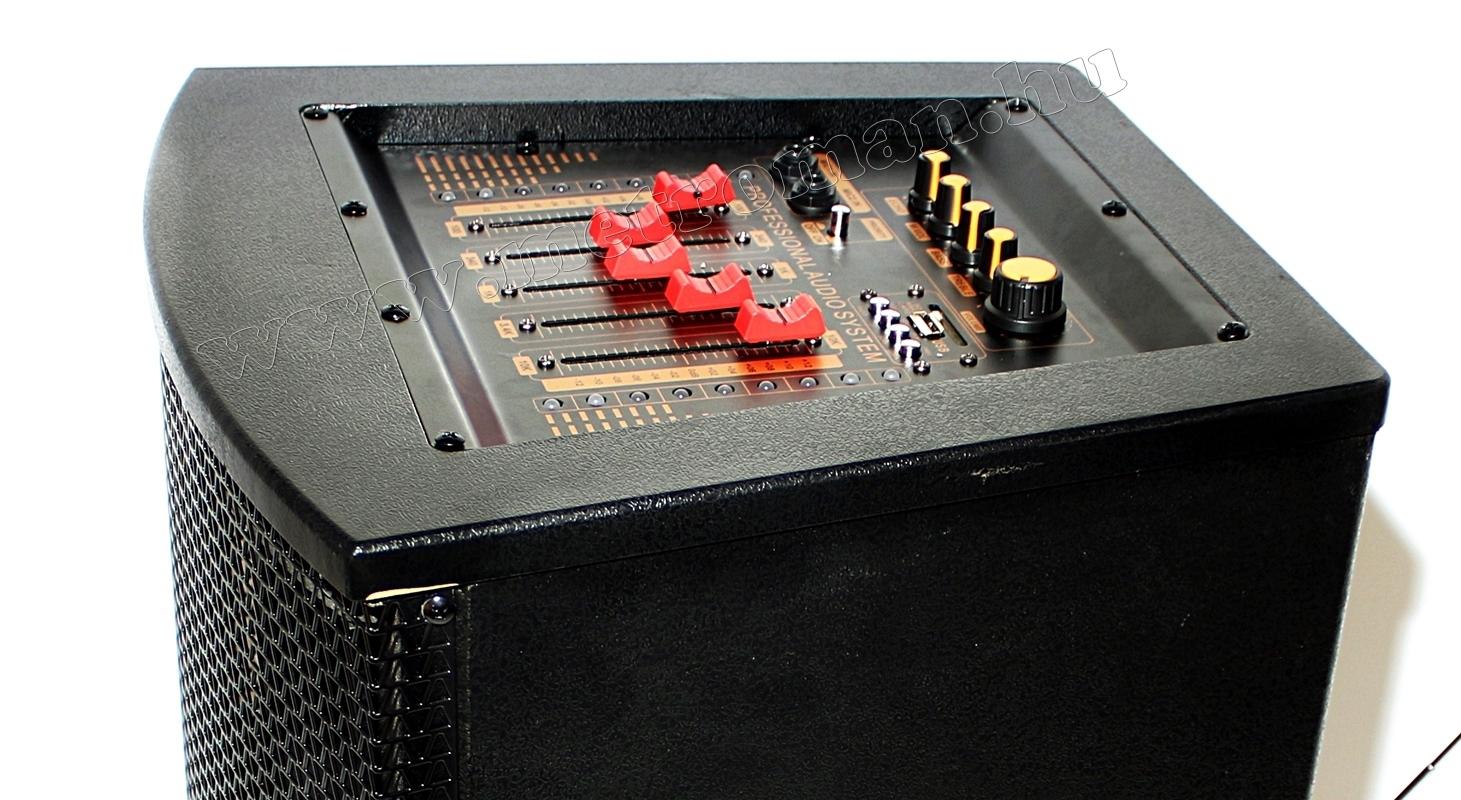 Aktív hangfal karaoke szett, USB/SD MP3 Bluetooth hangszóró vezeték nélküli mikrofonnal PAX225BT