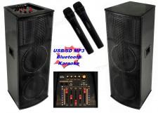Aktív hangfal karaoke szett, USB/SD MP3 Bluetooth hangszóró vezeték nélküli mikrofonnal PAX225BT SZETT