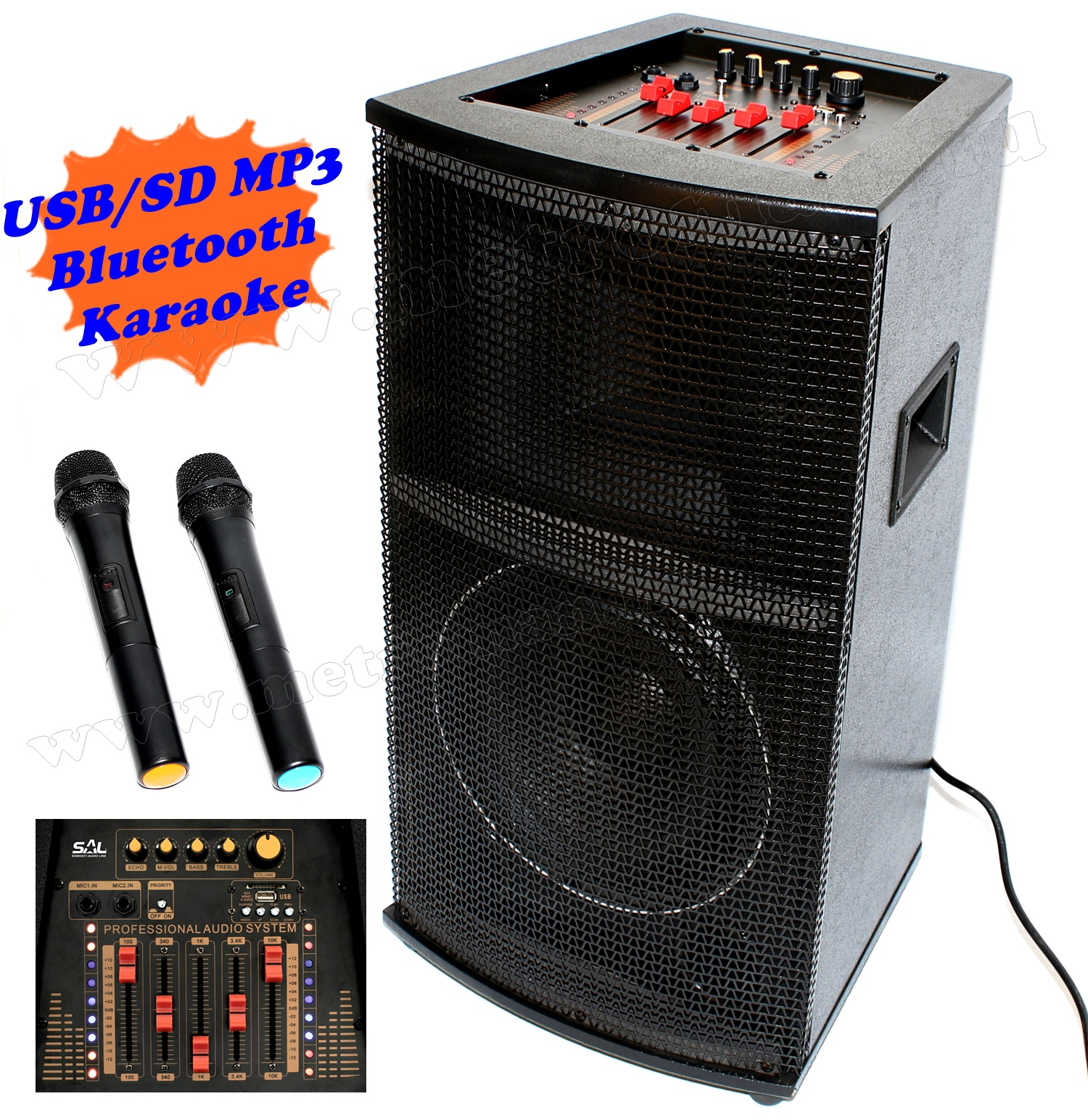 Aktív hangfal karaoke szett, USB/SD MP3 Bluetooth hangszóró vezeték nélküli mikrofonnal PAX25BT