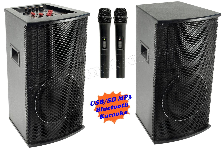 Aktív hangfal karaoke szett, USB/SD MP3 Bluetooth hangszóró vezeték nélküli mikrofonnal PAX25BT SZETT
