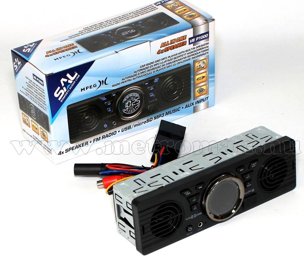 USB/SD/MP3 Autórádió beépített hangszórókkal VB P1000