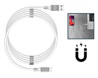 USB - USB C mágneses adat és telefontöltő kábel fehér 55446C-WH