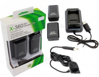 Utángyártott Xbox 360 dokkoló akkumulátortöltő 2 db akkuval és USB töltőkábellel 5 az 1-ben csomag