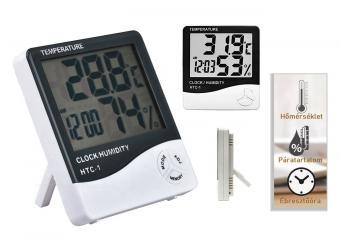 Digitális páratartalom mérő és hőmérő ébresztő órával MG246A