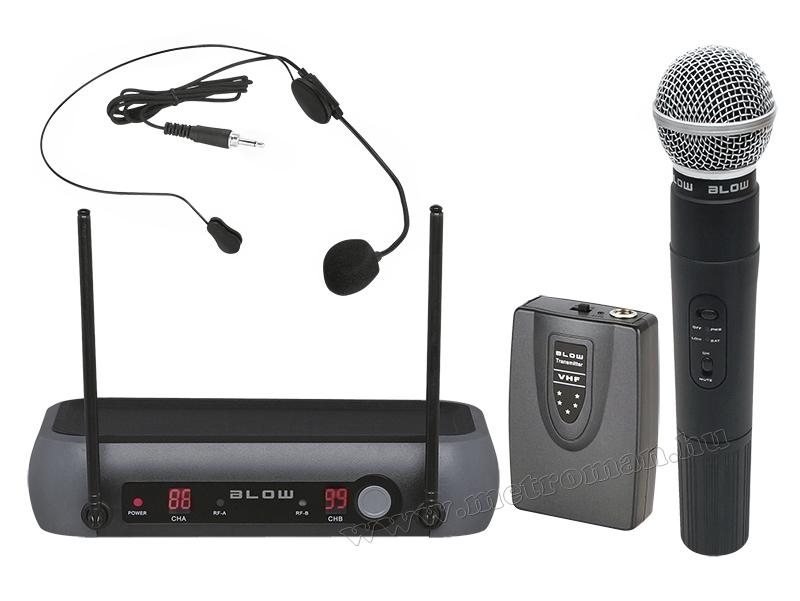 Vezeték nélküli mikrofon, kézi és fej mikrofonnal PRM-903