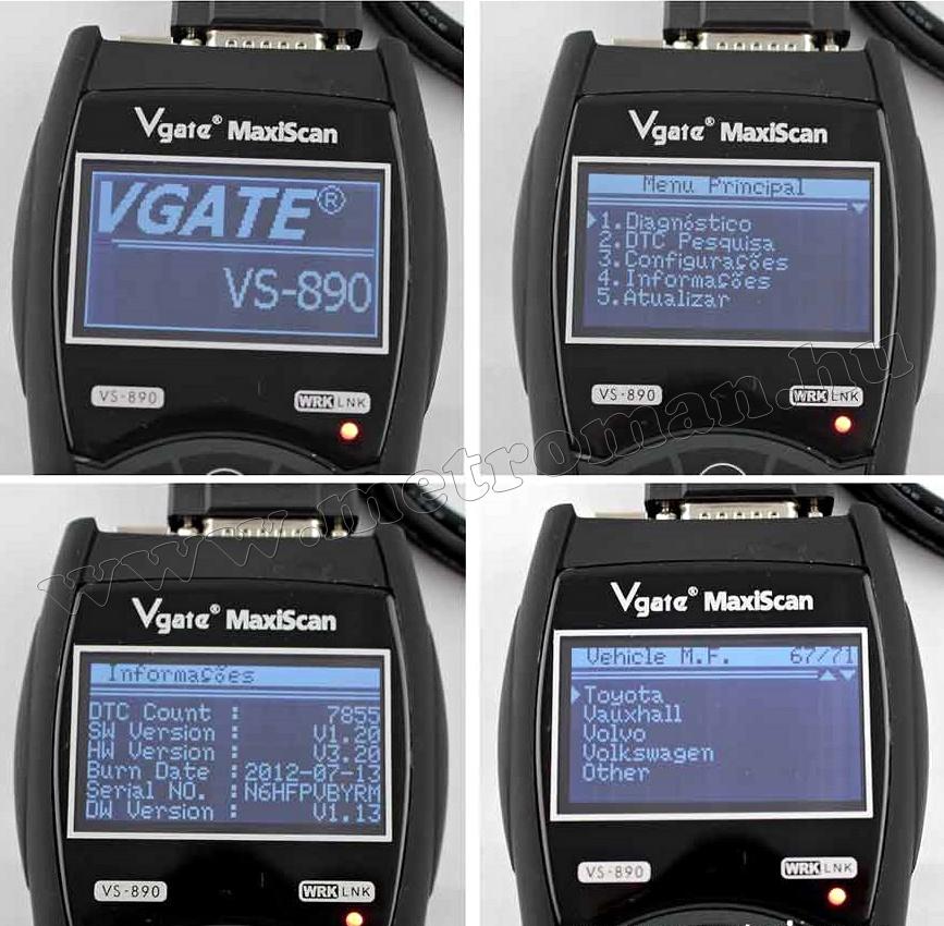 OBD2 autó diagnosztika műszer, hibakód olvasó Vgate VS890