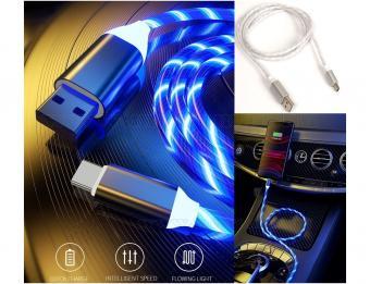 LED Lighting Világító USB-C gyorstöltő kábel fehér GZ16399W