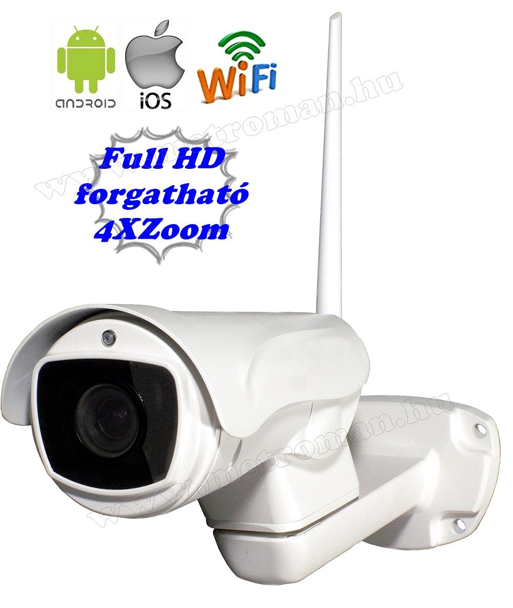Vezeték nélküli kültéri Wifi IP Android iPhone SD kártyás ZOOM megfigyelő kamera MWX345FHD