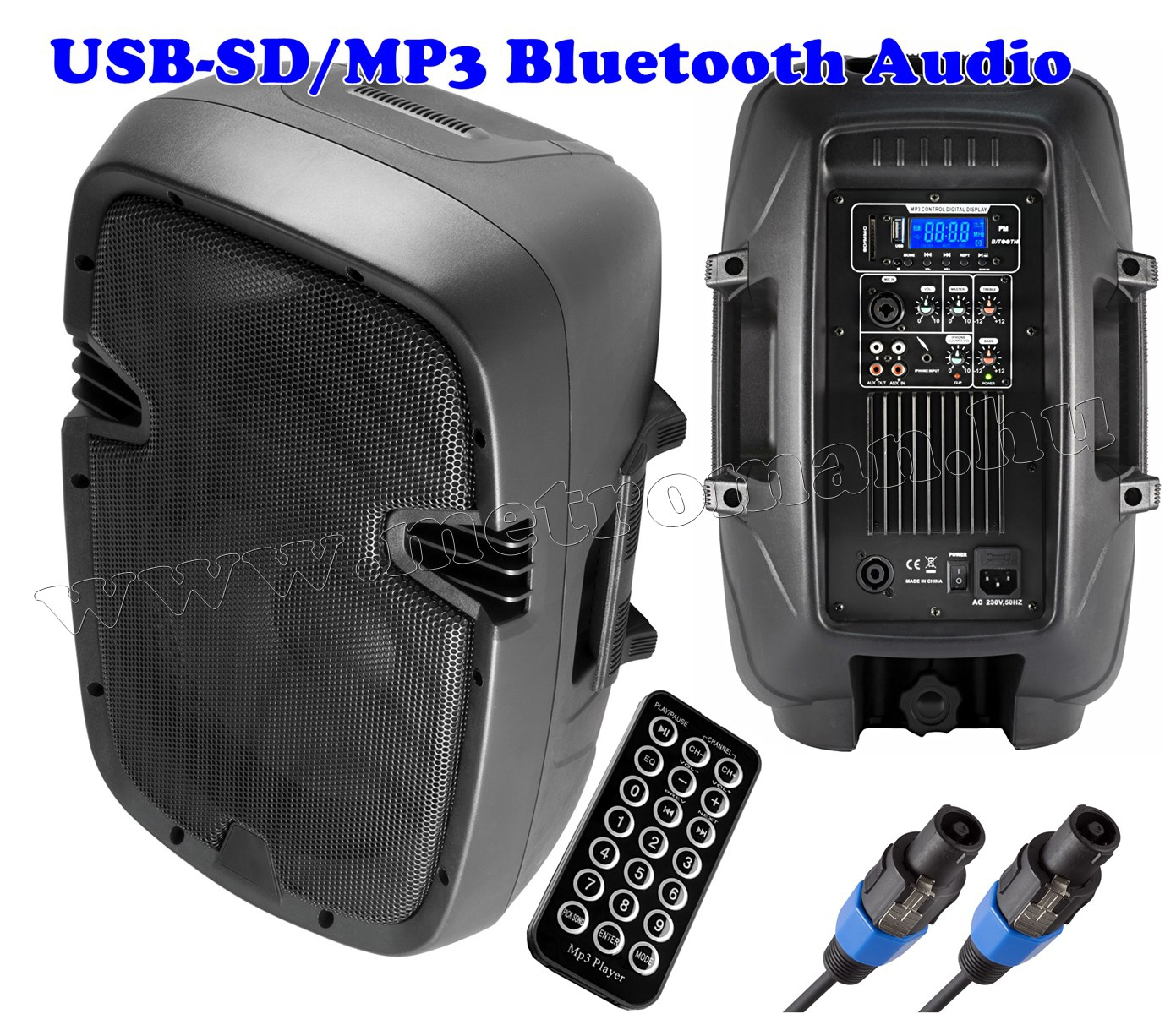 Aktív zenekari, DJ és Karaoke hangszóró, USB/SD/MP3 lejátszóval PAX25PRO/A BT