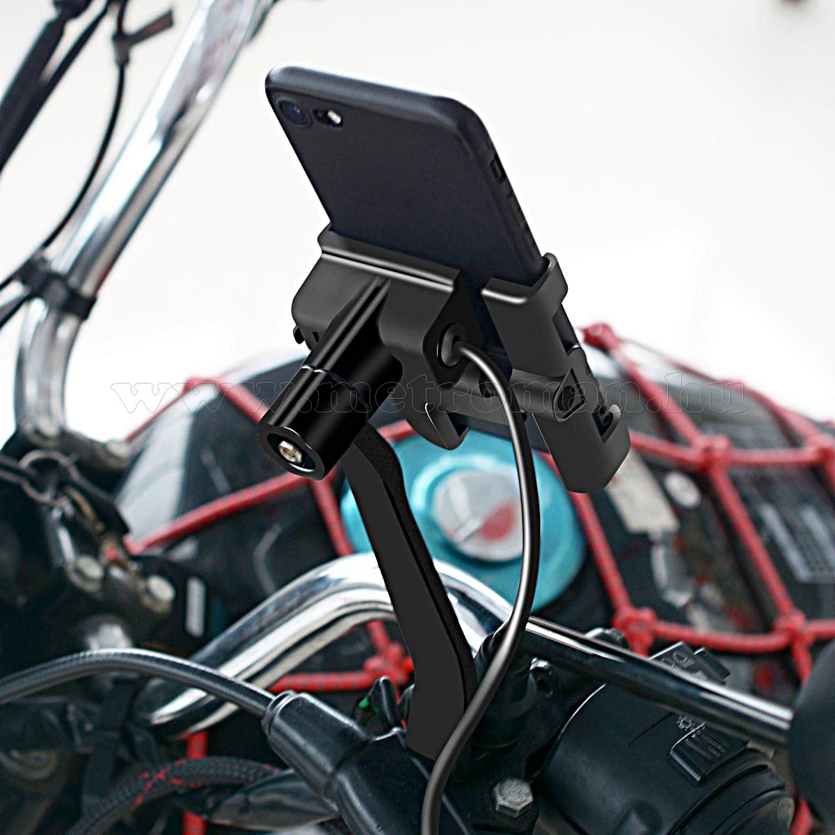 Alumínium motoros  telefontartó Qualcomm 3.0 USB gyorstöltővel MM9114B USB