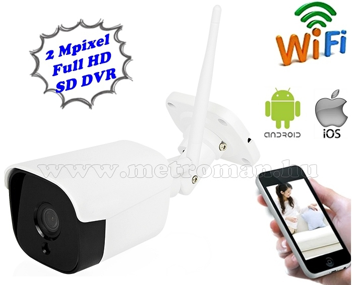 Vezeték nélküli kültéri Wifi IP, Android iPhone SD DVR megfigyelő kamera MM8792 FHD