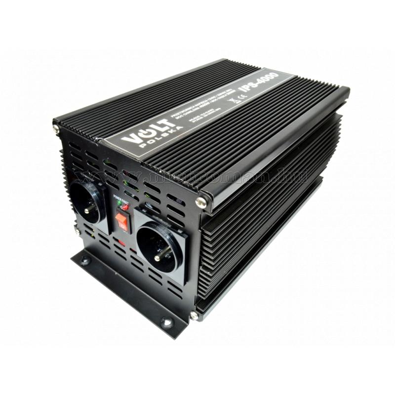 Feszültségátalakító , inverter  , 2000 W  12 / 230 Volt,  IPS4000, ( francia csatlakozós )