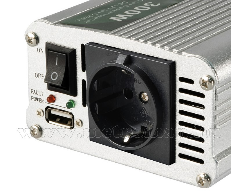 Feszültségátalakító, inverter, 12/230V 300/600 Watt, SAI 60 USB