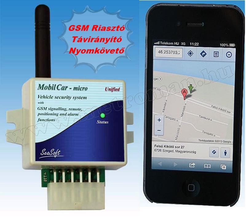 Autó GSM távirányító és GSM hívó riasztóhoz nyomkövető funkcióval MobilCar-Micro