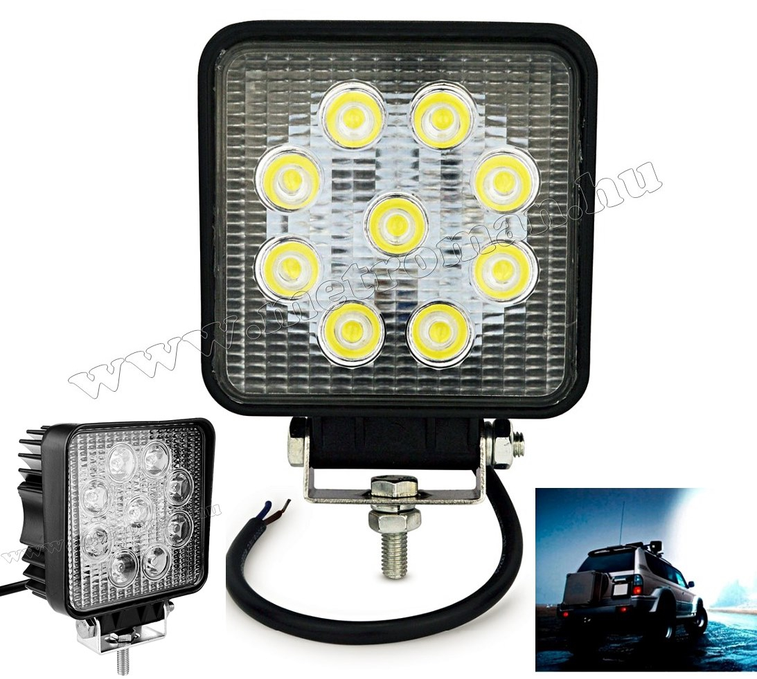 Autó LED fényszóró, LED munkalámpa 27 Watt, MD21