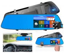 Autós menetrögzítő és tolatókamera érintőképernyős tükör LCD monitorral MM-980 FHD
