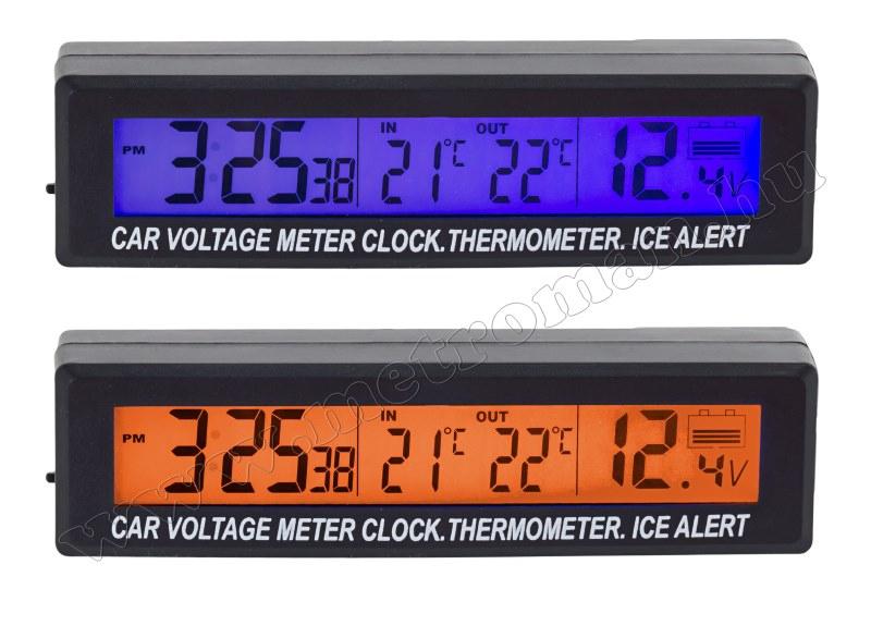Digitális autós külső-belső hőmérő és feszültség mérő MEC-88