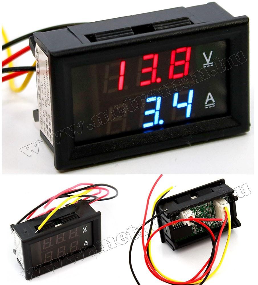 Beépíthető digitális Volt és Ampermérő 0-100V/10 Amper, MK306D