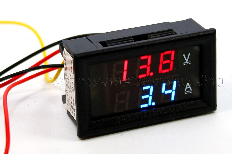 Beépíthető digitális Volt és Ampermérő 0-100V/75mA MK306D