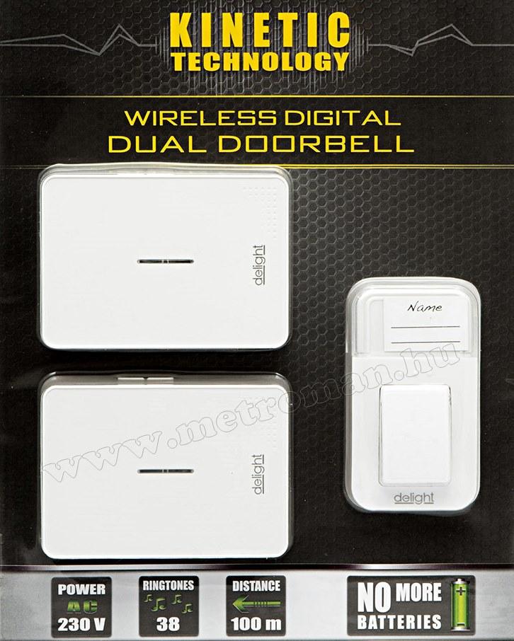 Kinetic Elem nélküli vezeték nélküli két beltéris csengő Delight 55340