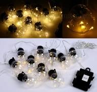 Izzó formájú, Kültéri elemes Kerti Party LED fényfüzér MLED-Cooper
