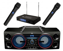 Hordozható USB/SD MP3 Bluetooth multimédia Karaoke szett  BoomBox BT POWER Karaoke