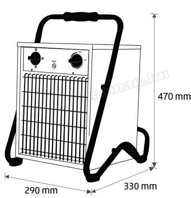 Ipari elektromos ventilátoros fűtőtest, hősugárzó 5000 Watt HOME FKI 50