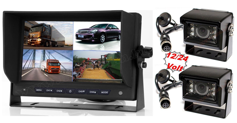 "Kamion, teherautó, targonca, munkagép ipari 2 kamerás tolatókamera szett 7"" LCD QUAD LCD monitorral MM7008-QUAD-MT554X2"